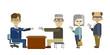 高齢ドライバーが順番に並んで公務員に免許証を返納している場面のイラスト