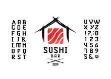 Vector Handwritten Display Font. Japanese Style Typeface.
