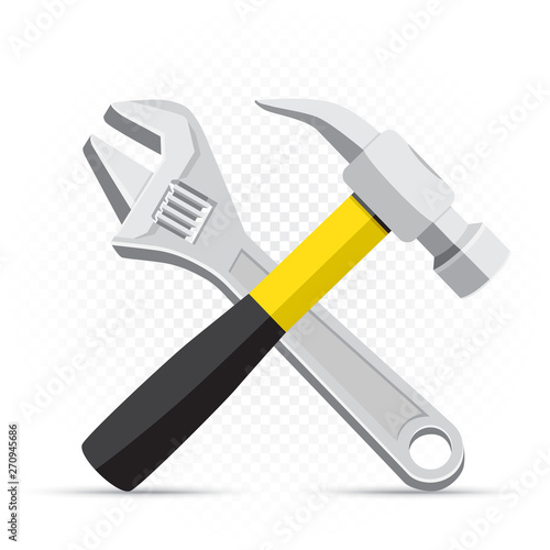 wrench and hammer repair icon Fototapet