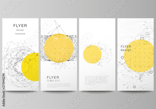 Obraz The minimalistic vector illustration of the editable layout of flyer, banner design templates. Science or technology 3d background with dynamic particles. Chemistry and science concept. - fototapety do salonu
