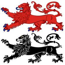 Heraldic Lion In Passant Attitude