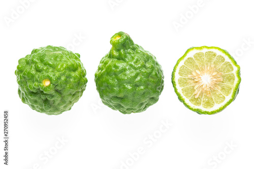 Fresh bergamot fruit and half piece isolated on white background ( Kaffir lime, Citrus, Rutaceae Wallpaper Mural