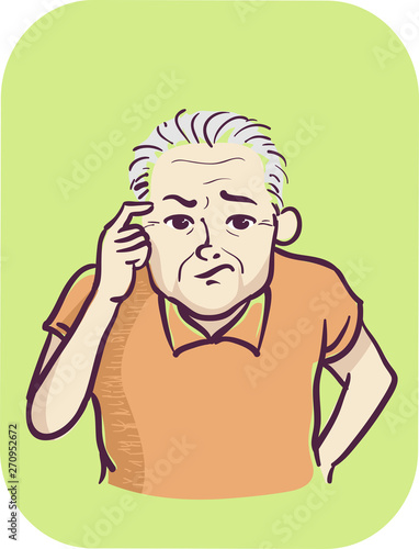 Man Senior Symptom Memory Loss Illustration - Buy this stock
