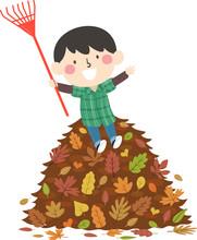 Kid Boy Autumn Rake Pile Leave...