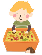 Kid Boy Autumn Sensory Bin Illustration
