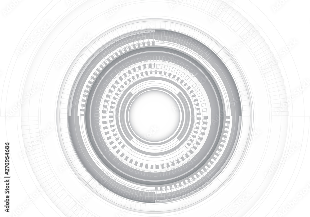 Abstract grey circle line system on white design modern futuristic technology background vector illustration.