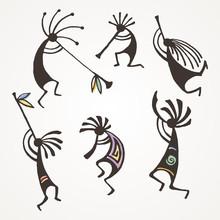 Hand Drawn Kokopelli Figures. ...