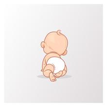 Cute Little Baby Boy In Diaper...