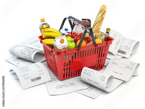 Poster Echelle de hauteur Grocery expenses budget and consumerism. Shopping basket with foods on the pile of receipt isolated on white.