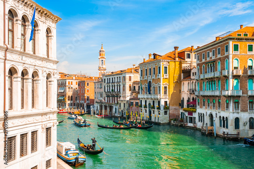 View of Grand Canal in Venice, Italy. Famous travel destination