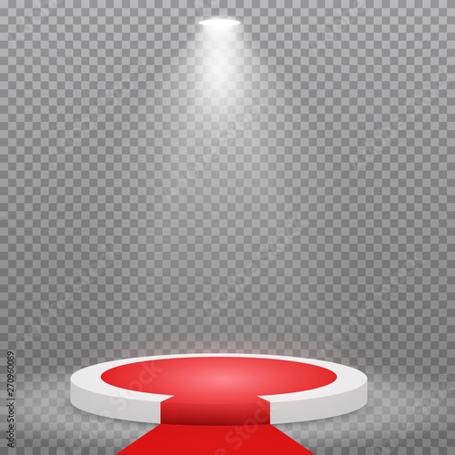 Round podium, pedestal or platform with red carpet, illuminated by spotlights on transparent background Canvas-taulu