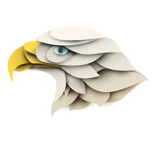 Eagle Head. Cartoon Wild Bird In Trendy Paper Cut Craft Graphic Style. Modern Design For Advertising, Branding Greeting Card, Cover, Poster, Banner. Vector Illustration.