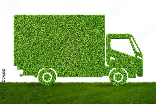 Foto  Green low emission electic vehicle concept - 3d rendering