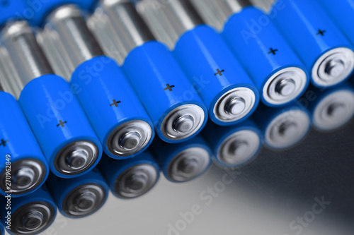 Close-up of blue alkaline batteries Canvas Print