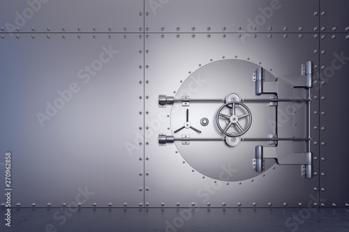 Photo  Closed and secured stainless steel bank vault  3D Rendering