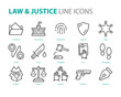 set of law icons, such as justice, lawyer, court, murder, legal