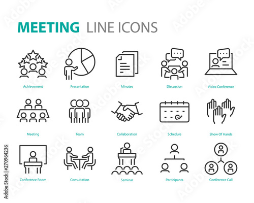 Photo  set of meeting icons, such as seminar, classroom, team, conference, work, classr