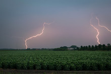 Multiple Lightning Bolts From A Strong September Thunderstorm In The Dutch Countryside At Dawn
