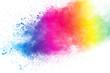 Colorful background of pastel powder explosion.Color dust splash on white background.