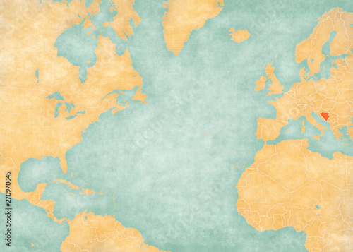 Map of North Atlantic Ocean - Bosnia and Herzegovina Wallpaper Mural