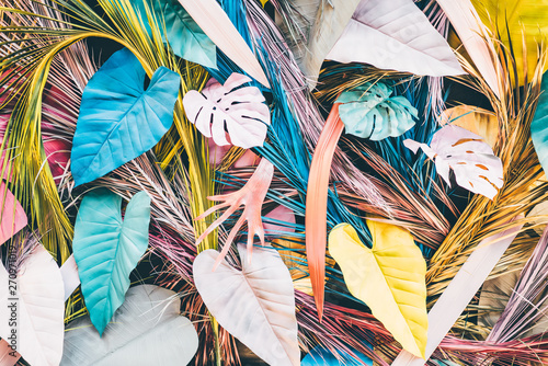 Deurstickers Paradijsvogel Colorful tropical and palm leaves. Concept art. Minimal concept.