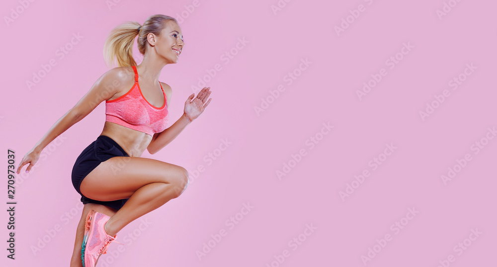 Fototapety, obrazy: Young powerful beautiful runner fit girl studio portrait. Weight Loss. Healthy lifestyle. Sporty healthy fitness woman in action