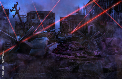 Ruined abandoned city after war battle attack Wallpaper Mural