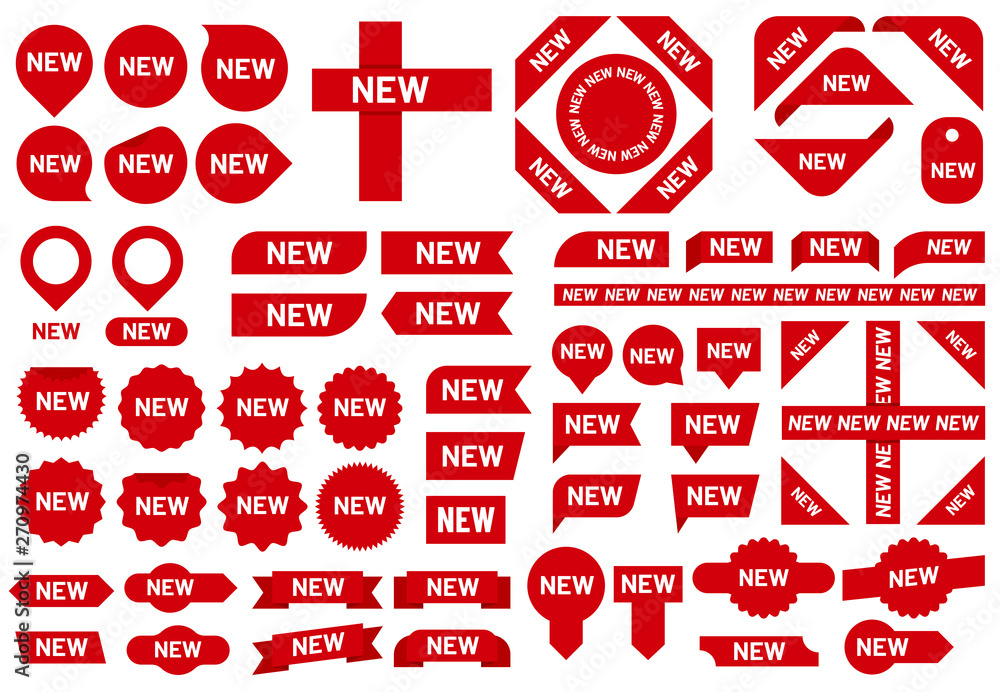Fototapeta New sticker badge. Newest arrival sale ribbon stickers, red badges and new flag sign vector set
