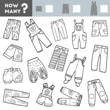 Counting Game For Children. Educational A Mathematical Game. Count How Many Shorts, Trousers, Overalls And Write The Result!