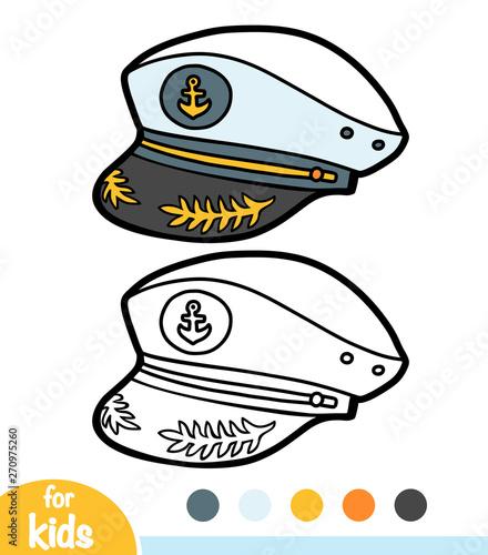 Coloring book, cartoon headwear, Captain hat Wallpaper Mural