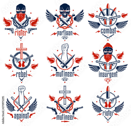 Anarchy and Chaos aggressive emblem or logo with strong clenched fist, aggressive skull, bullets and guns, weapons and different design elements , vector tattoo, rebel and revolutionary Canvas Print
