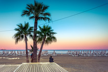 Palm Trees And Sunbeds At The Sandy Beach Of Larnaca, Cyprus
