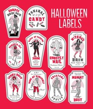 Halloween Bottle Labels Potion Labels With Monsters.