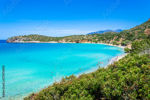 Foto op Plexiglas Caraïben Tropical beach of Voulisma beach, Istron, Crete, Greece.