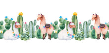 Lovely Repeat Border With Green Watercolor Cactus,succulents,flowers And Cute Llamas.Seamless Frame.Perfect For Your Project,wedding,print,baby Shower,bridal,template,invite And More
