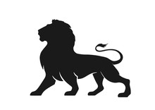 Lion Silhouette Icon, Side View. Symbol Of Courage, Bravery And Power