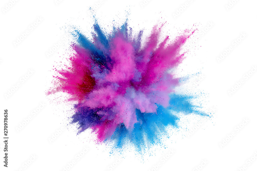 Fototapeta Colored powder explosion on a white background. Abstract closeup dust on backdrop. Colorful explode. Paint holi