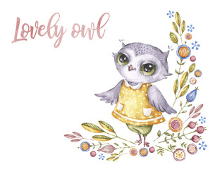 Cute watercolor owl in childish style