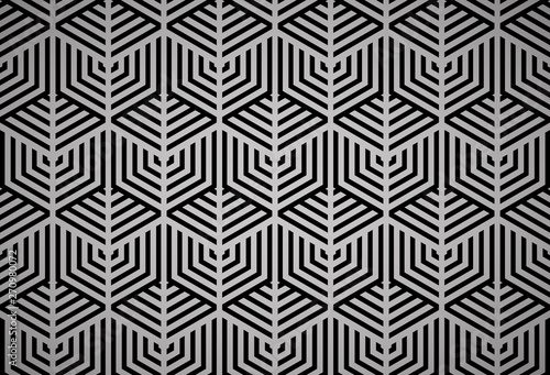 Fototapety, obrazy: Abstract geometric pattern with stripes, lines. Seamless vector background. Black ornament. Simple lattice graphic design