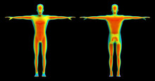 3d Rendering. Human Front And Back Body Scan By Infrared Ray Structure Measure With Clipping Path Isolated On Black Background.