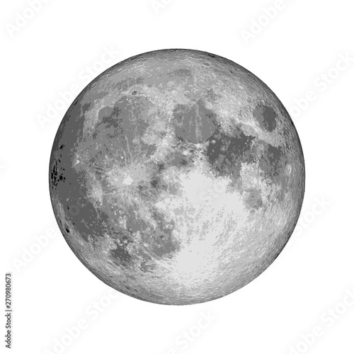 Realistic full moon. Astrology or astronomy planet design. Vector. Wall mural