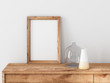 canvas print picture - Vertical Wooden Frame poster Mockup standing on bureau