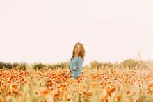 Beautiful Brunette Woman Walking In Red Poppy Flower Field.