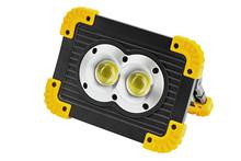 Led Floodlight Spotlight Battery Recharge Portable Isolate On White Background.
