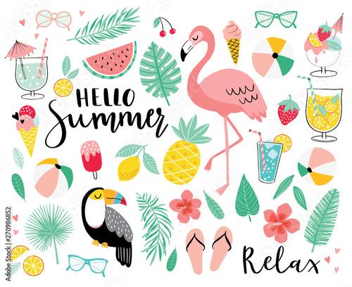 Valokuvatapetti Set of cute summer icons
