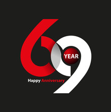 Vector Abstract, Letter 69 Symbol For Happy Anniversary Logo Event.
