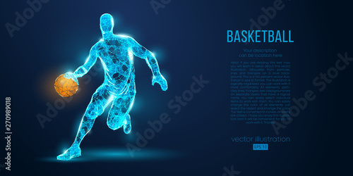 Abstract basketball player from particles, lines and triangles on blue background Fototapet