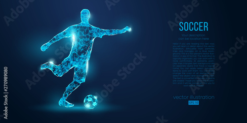 Abstract soccer player, footballer from particles on blue background Fototapet