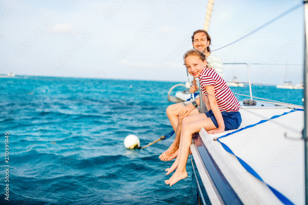 Fototapety, obrazy: Family on board of sailing yacht