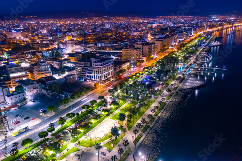 Foto op Aluminium Cyprus Limassol. Cyprus night panorama. Lit at night Limassol streets. Molos embankment. Beach promenade Limassol from the height. Mediterranean sea coastline. The Cyprus beaches. Travel in Cyprus seaside.